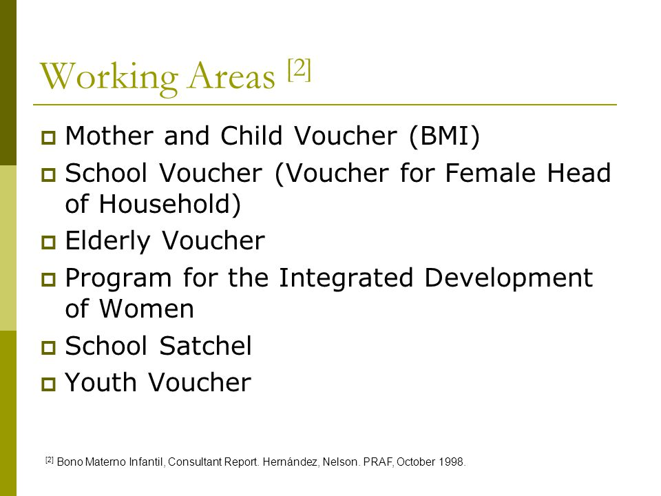 Working Areas [2] Mother and Child Voucher (BMI)
